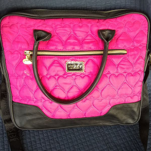 Betsey Large Pink Quilted Heart Crossbody Shoulder
